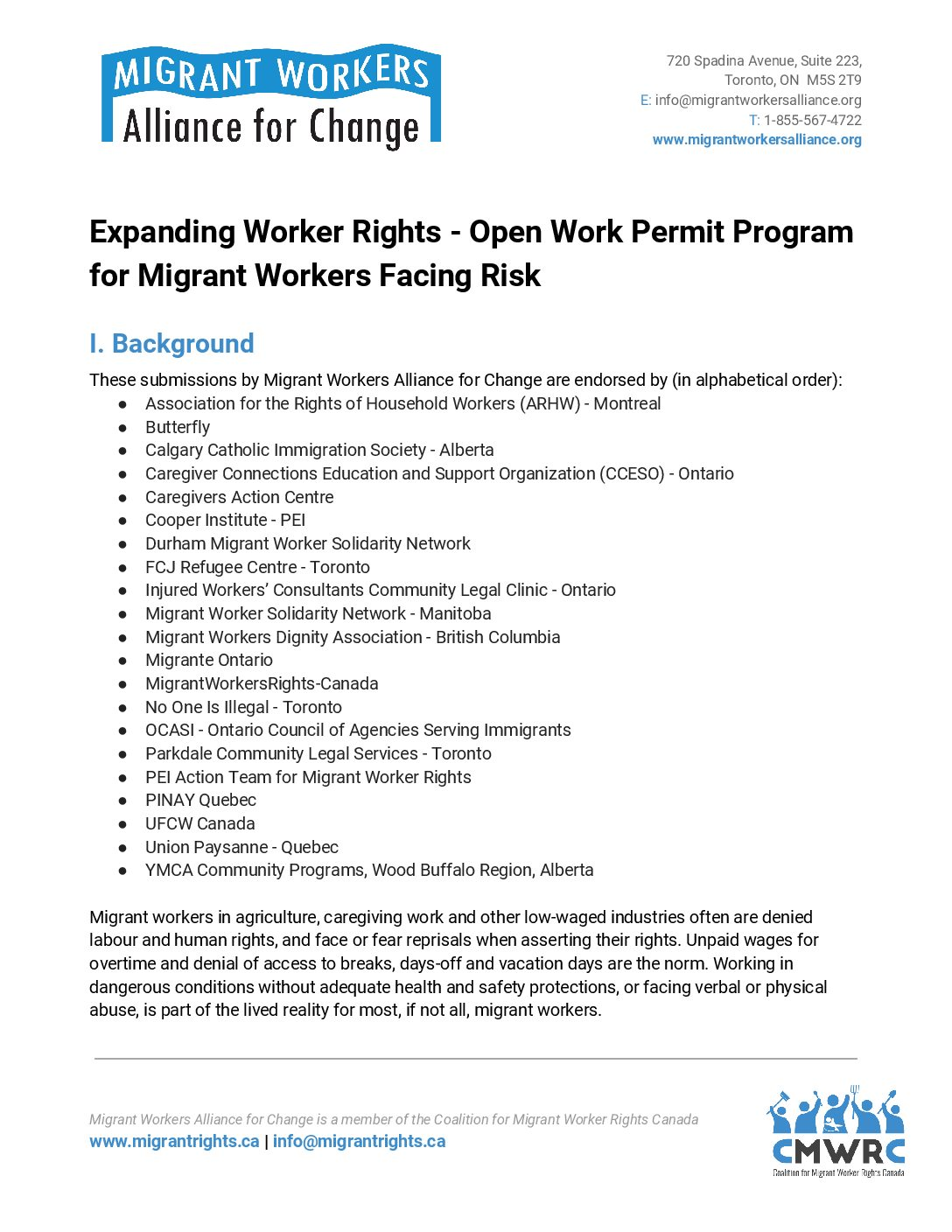 Policy Submissions: Open Work Permit Program for Migrant Workers Facing Risk