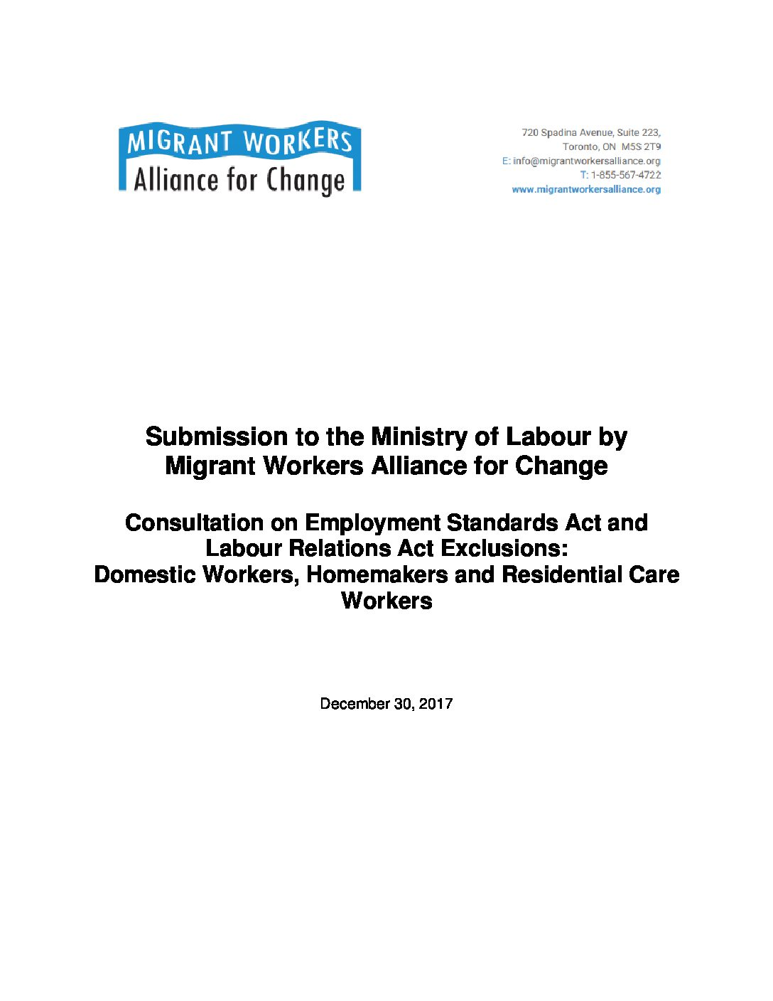 Policy Submission: Labour exemptions for Domestic Workers, Homemakers and Residential Care Workers